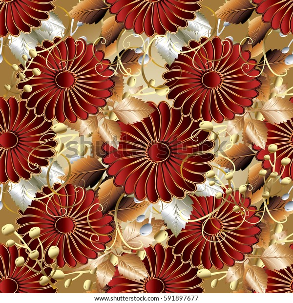 Red 3d flowers seamless pattern. Floral surface background wallpaper illustration. Flourish abstract ornaments. Luxury vector texture. Decor 3d elements with shadows and highlights.