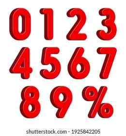 Rote 3D-Zahlen mit Percent-Zeichen einzeln auf weißem Hintergrund. Vektorgrafik