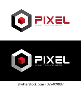 Red 3D pixel in hexagon Icon Logo Template