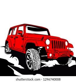 Red 4x4 car. Off road jeep in vector art