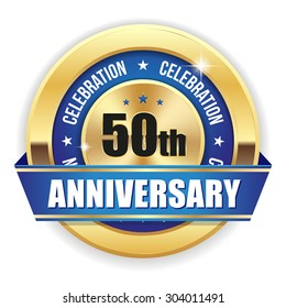 Red 50th anniversary badge with gold border and ribbon on white background