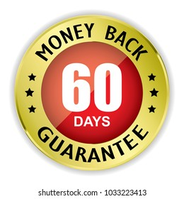 Red 60 days money back badge with gold border on white background.vector illustration