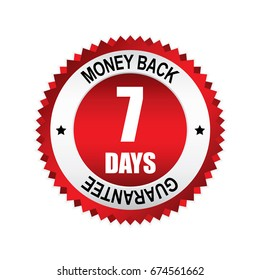Red 7 days money back,guarantee badge, button with silver border.vector illustration