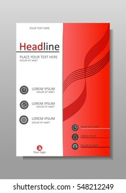 Red A4 Business Book Cover Design Template. Good for Portfolio, Brochure, Annual Report, Flyer, Magazine, Academic Journal, Website, Poster, Monograph, Corporate Presentation, Conference Banner.