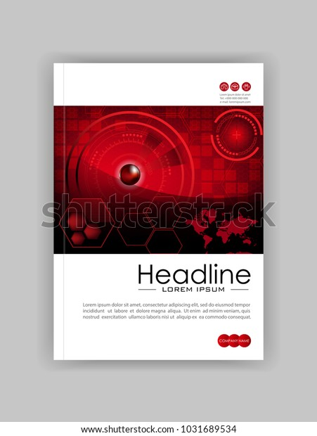 Red A4 HUD Business Book Cover Design Template. Good for Portfolio, Brochure, Annual Report, Flyer, Magazine, Academic Journal, Website, Poster, Monograph. World map. Vector EPS10.