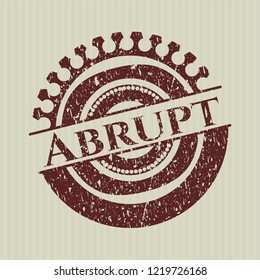 Red Abrupt rubber stamp with grunge texture