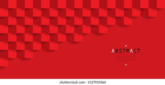 Red abstract architecture background with copy space. 3D paper art style background can be used in cover design, book design, brochure, flyer, poster, cd cover, website or advertising.