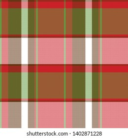 Red abstract asymmetrical check plaid seamless pattern. Vector illustration.