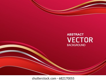 Red abstract background with curves lines vector