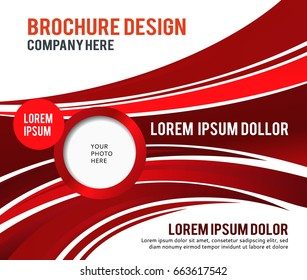 Red abstract background with wave. Abstract background, business poster or brochure.