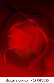 Red abstract background with wavy lines. Vector