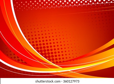 Red abstract background. Wavy lines on a red background