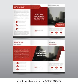 Red abstract business tri fold Leaflet Brochure Flyer report template vector minimal flat design set, abstract three fold presentation layout templates a4 size