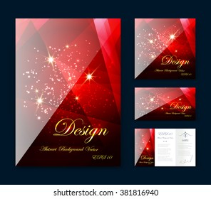 Red abstract composition, business card set, event info text, elegant geometric font texture, brochure title sheet, creative ruby figure icon, rubine crystal facets, sale flyer fiber, EPS10 banner form