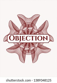 Red abstract linear rosette with text Objection inside