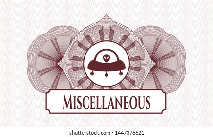 Red abstract linear rosette with ufo with aline inside icon and Miscellaneous text inside
