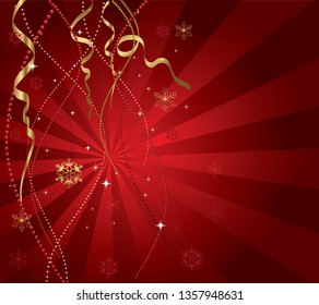 Red abstract luxury vector background, pearls, ornaments, snowflakes.