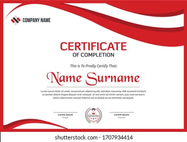 red abstract modern certificate for corporate companies and all types business and other sectors