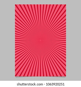 Red abstract retro explosion page template - vector brochure background graphic with radial stripe pattern