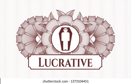 Red abstract rosette with dead man in his coffin icon and Lucrative text inside