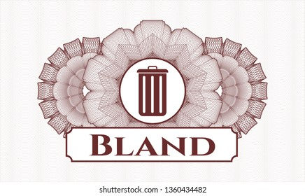 Red abstract rosette with trash can icon and Bland text inside