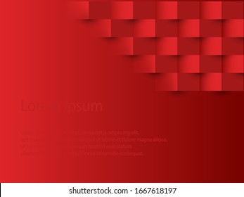 red abstract square shape with text