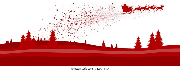 Red Abstract Vector Christmas Season Panorama Banner with Santa and Reindeer Sled Isolated on White Background. Horizontal Landscape Illustration with Fir Trees - X-Mas Greeting Card