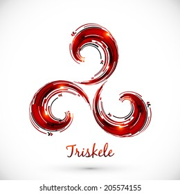 Red abstract vector triskele symbol