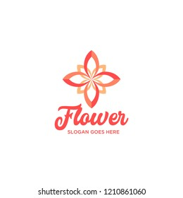 Red Abstrat Flower Logo Design