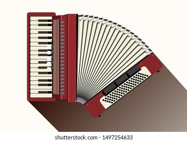 Red accordion with white keys