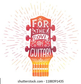 Red acoustic guitar neck silhouette in watercolor grunge style with white lettering inside: For the love of guitar. Vector vintage print.