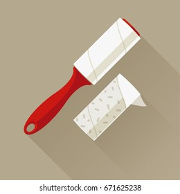Red adhesive sticky roller on a light brown background. Domestic cleaning tool for getting rid of dandruff, hair, debris, pet wool and fluff. One-time paper roller with adhered dust. Vector flat icon.