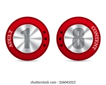 Red adult content badges with metallic 1 and 8 numbers in center