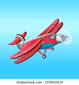 Red Aeroplane in cartoon style.Vector.