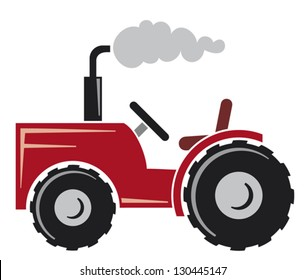red agricultural tractor icon