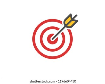 Red aim icon. Target and arrow concept. Perfect hit composition. Cross aim sign. Success logo. Absolute winner. Vector illustration.