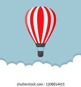 Red Air balloon. Startup or freedom concept, Vector illustration