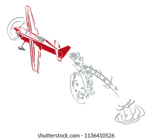 Red aircraft in show of the aerobatics figure. Drive illustration for air race, magazines, business motivation, branding, decoration, banner, wall art, home decor etc.