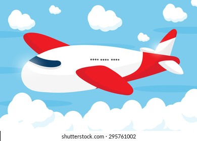 red airliner cartoon design