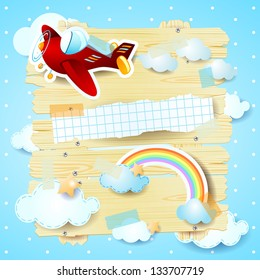 Red airplane and copy space, vector background