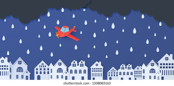 Red airplane flying in the storm. Rain clouds and city buildings in paper cut style. Vector rainy weather concept with falling water drops from the cloudy sky. Template for autumn monsoon sale banner.