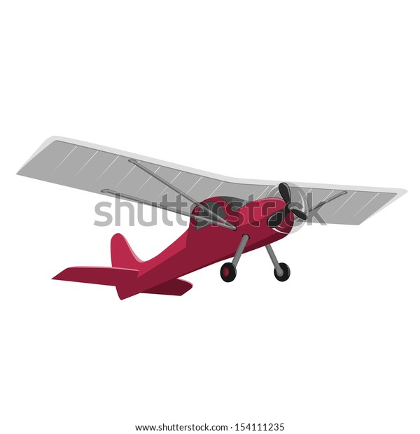 red airplane isolated on white background.