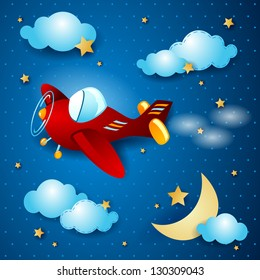 Red airplane at night, vector