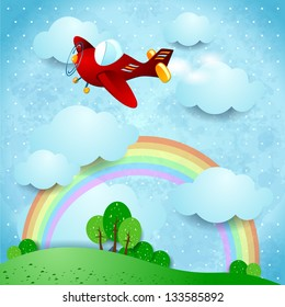 Red airplane on fantasy landscape, vector illustration