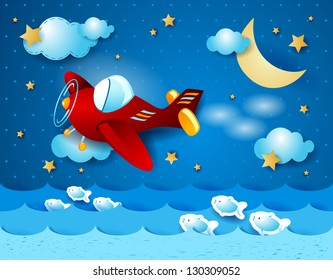 Red airplane over the sea, vector