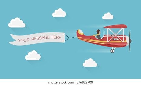 Red airplane pulls advertising banner in the cloudy sky. Colorful flat style vector illustration.