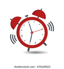 Red alarm clock with a call on a white background