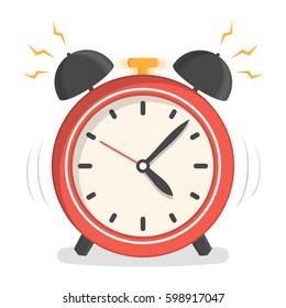Red alarm clock, flat design, vector eps10 illustration