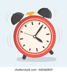 Red alarm clock, flat design, vector eps10 illustration