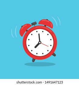 Red alarm clock isolated on blue background. Vector illustration in flat style.